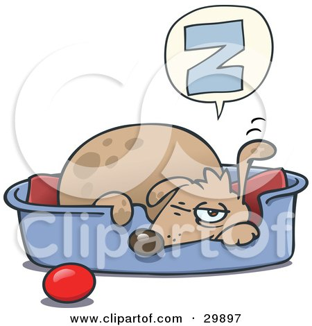 Clipart Illustration of a Sleepy Dog Napping In A Dog Bed, A Ball At His Side, Holding One Ear Up And One Eye Open by gnurf