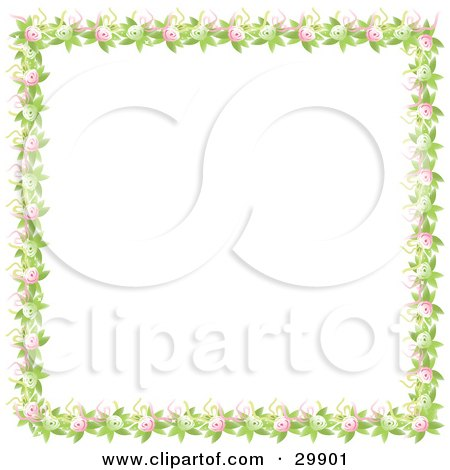 Clipart Illustration of a Border Of Green Leaves Pink And Green Flowers And