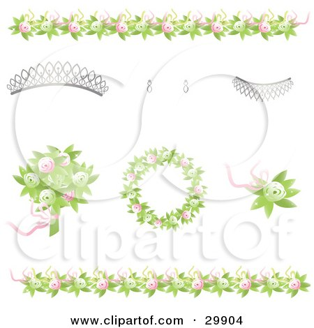 Design Elements Of Green And Pink Rose Borders Bouquet Wreath And Corsage