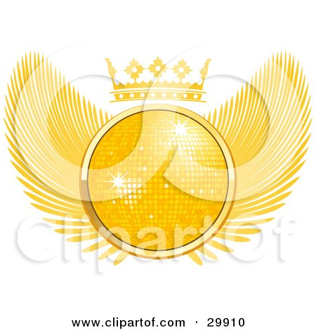 Golden 3D Disco Ball Sparkling In The Center Of A Winged Crest With A Crown On Top Posters, Art Prints