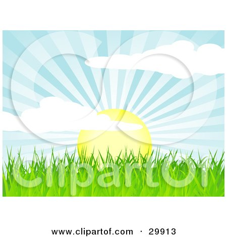 Clipart Illustration of The Sun Rising Over Green Grass, Casting Rays Of Sunshine In The Sky by elaineitalia