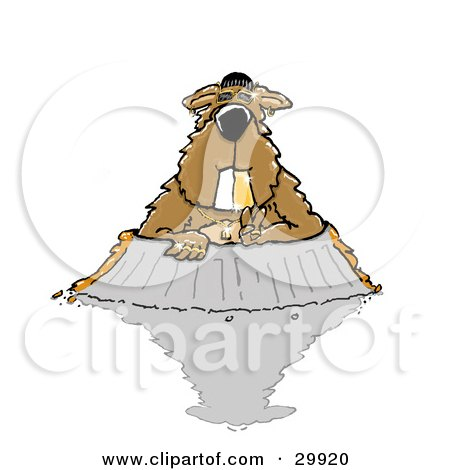 Clipart Illustration of a Gangster Groundhog With A Golden Grill Tooth, Wearing Bling And Other Jewelry, Emerging From His Burrow, Only To See His Shadow by Spanky Art