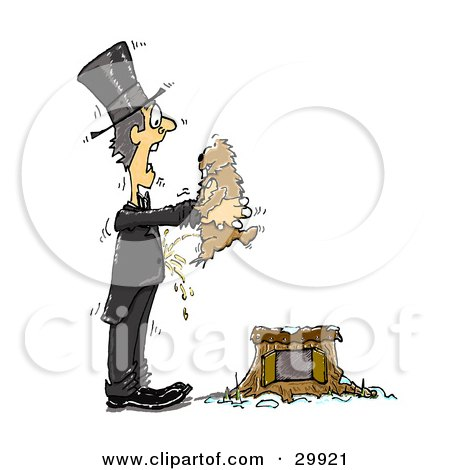 Clipart Illustration of a Mischievous Groundhog Peeing On A Shocked Man As He Lifts The Animal From The Burrow by Spanky Art