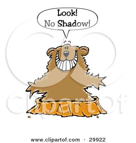 Clipart Illustration of a Happy Ground Hog Holding His Arms Out While Emerging From His Burrow And Not Seeing A Shadow by Spanky Art