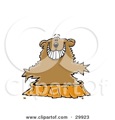 Clipart Illustration of a Happy Groundhog Without A Shadow, Emerging From His Hole by Spanky Art
