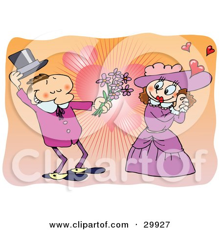 Clipart Illustration of a Romantic Victorian Couple In Love, The Man Taking Off His Hand And Giving Flowers To The Lady, Over A Heart Background by gnurf