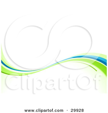 Clipart Illustration of a Green And Blue Nature Wave Background On White by beboy