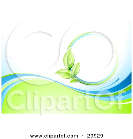 Clipart Illustration of a Nature Background Of A Green Vine Circle Over White, Above Waves Of Blue And Green by beboy