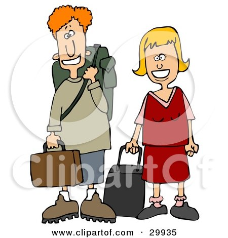 Clipart Illustration of a Young White Couple Smiling And Standing With Their Luggage At An Airport by djart