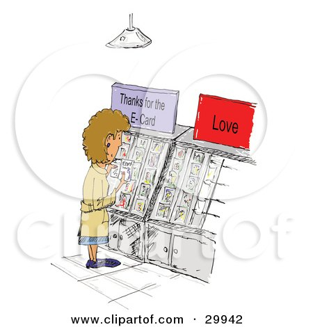 Clipart Illustration of a Caucasian Woman Standing And Reading Greeting Cards Thanking Friends For E-Cards by Spanky Art