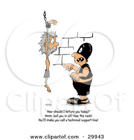 Clipart Illustration of a Punisher Threatening A Prisoner By Making Him Call A Technical Support Line Posters, Art Prints