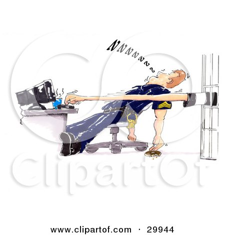 Clipart Illustration of a  Prisoner Stretching Their Arm And Typing On A Computer While A Lazy Cop Sleeps In His Chair, Dropping His Donut On The Floor by Spanky Art