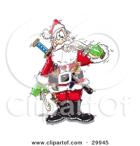 Clipart Illustration of a Crazy Santa Biting A Sword With His Teeth, Armed With Knives And Weapons by Spanky Art