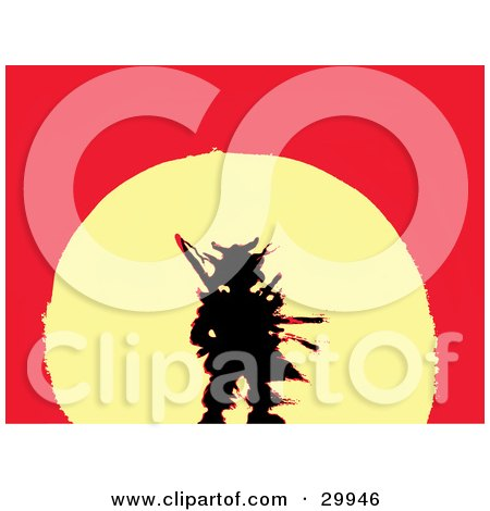 Clipart Illustration of a Lost Warrior's Black Silhouette Traced In Red Over A Yellow Sunset On A Red Background by Spanky Art