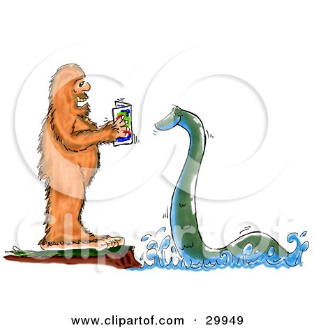 Bigfoot Standing On A Cliff And Reading To The Loch Ness Monster Posters, Art Prints