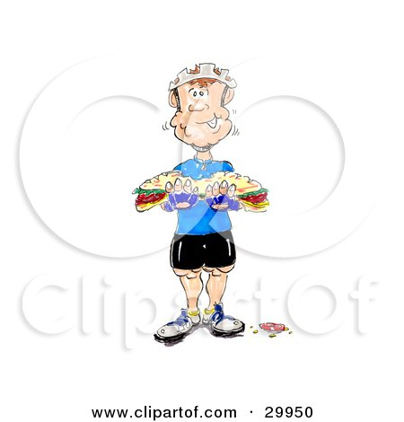 Clipart Illustration of a Hungry, Muscular Bicyclist Chewing A Big Bite Of A Tasty Sub Sandwich by Spanky Art