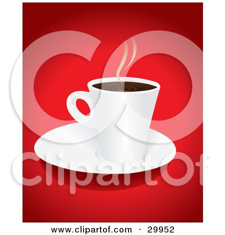 Hot Cup Of Steaming Coffee Or Hot Cocoa On A White Saucer Over A Red Background Posters, Art Prints
