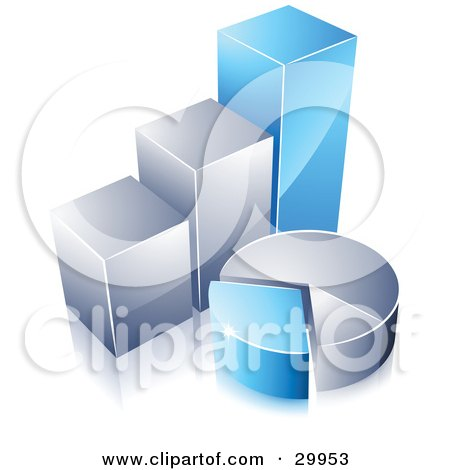 Clipart Illustration of a Pre-Made Logo Of A Blue And Silver Pie Chart And Bar Graph by beboy