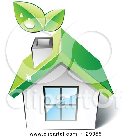 Clipart Illustration of a Pre-Made Logo Of A Green Home With Leaves Sprouting From The Chimney by beboy