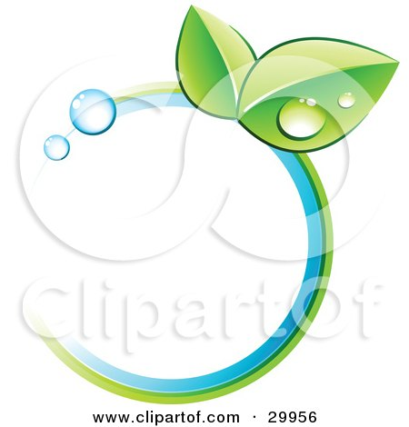 Clipart Illustration of a Pre-Made Logo Of Leaves And Colors In A Circle by beboy