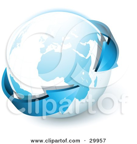 Clipart Illustration of a Pre-Made Logo Of Blue Arrows Circling Planet Earth by beboy