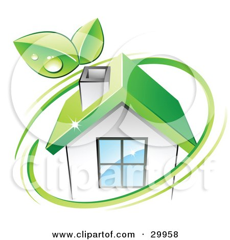 Clipart Illustration of a Pre-Made Logo Of Leaves And A Green Circle Over An Eco Friendly Home by beboy