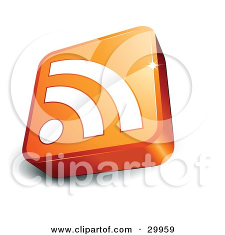 Clipart Illustration of a Pre-Made Logo Of An Orange And White RSS Cube by beboy