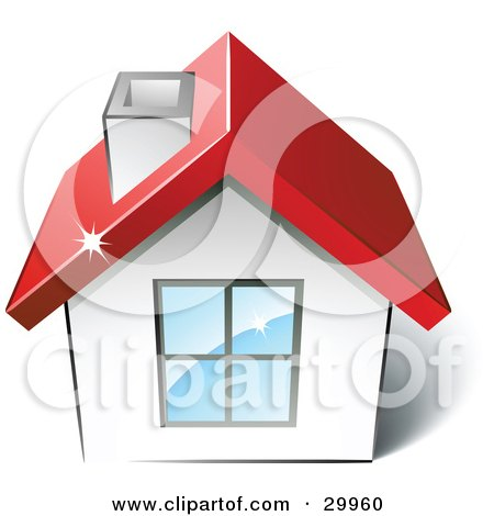 Clipart Illustration of a Pre-Made Logo Of A House With A Red Roof by beboy