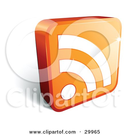 Clipart Illustration of a Pre-Made Logo Of An Orange Cube With A White RSS Symbol by beboy