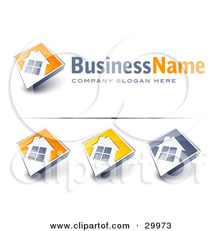 Clipart Illustration of a Pre-Made Logo Of A Large Window On A Home With Space For A Business Name And Company Slogan by beboy