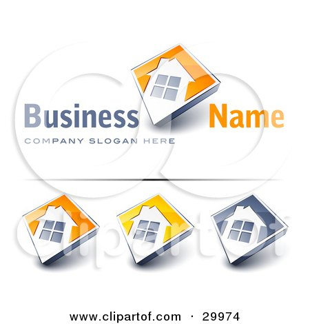 Clipart Illustration of a Pre-Made Logo Of A Large Window On A Home With An Orange Background And Space For A Business Name And Company Slogan by beboy