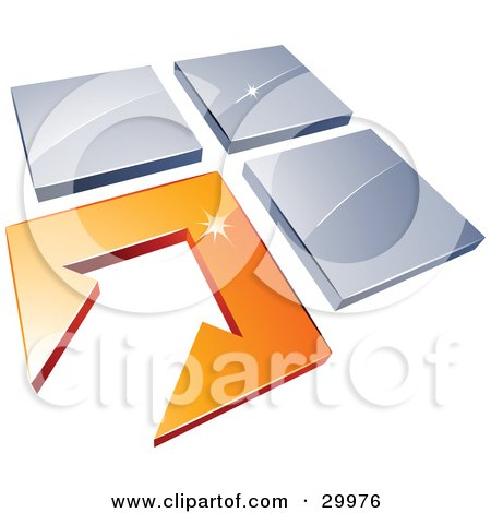 Clipart Illustration of a Pre-Made Logo Of An Arrow In An Orange Flooring Tile, Beside Three Blue Tiles by beboy
