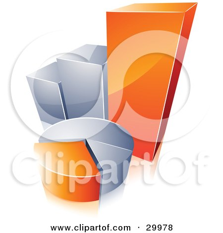 Clipart Illustration of a Pre-Made Logo Of An Orange And Silver Pie Chart And Bar Graph by beboy