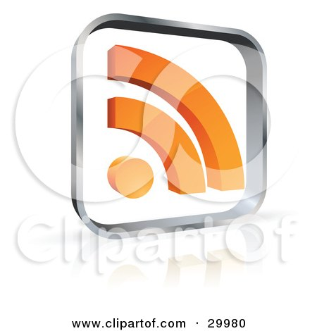 Clipart Illustration of a Pre-Made Logo Of A Glass Square With An Orange RSS Symbol by beboy