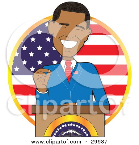 Clipart Illustration of Barack Obama, The First Black American President, Smiling While Giving A Speech From Behind A Podium, In Front Of A Flag by Maria Bell