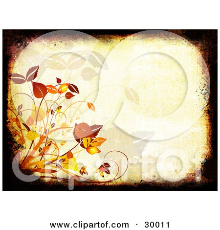 Clipart Illustration of a Black And Brown Grunge Border Around An Orange Background With Autumn Grasses And Leaves by KJ Pargeter