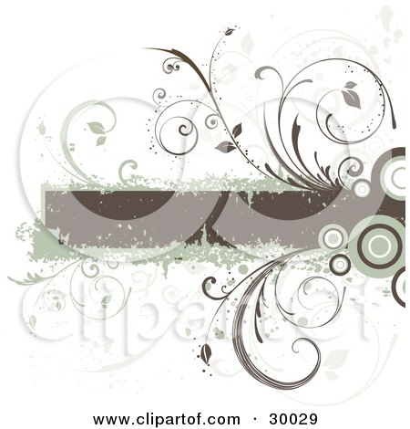 Clipart Illustration of a Brown Grunge Text Box Bordered In Green With Circles And Vines by KJ Pargeter