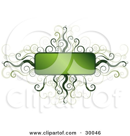 Clipart Illustration of a Blank Gradient Green Text Box Framed In Green Spirals And Curls, Over White by KJ Pargeter