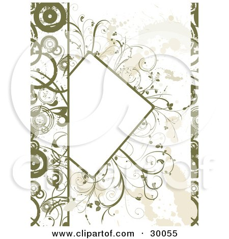 Clipart Illustration of a Partial Blank Text Box Bordered With Green Plants, On A Grunge Background With Circles Along The Edges by KJ Pargeter