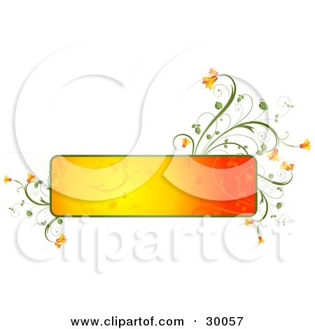 Clipart Illustration of a Blank Gradient Orange Text Box Trimmed In Green With Orange Flowers Growing From The Corners, Over White by KJ Pargeter