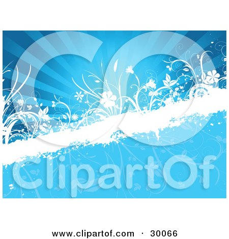 Clipart Illustration of a White Grunge Bar Spanning A Blue Background With Rays Of Light, Faded Flowers And White Flowers And Grasses by KJ Pargeter