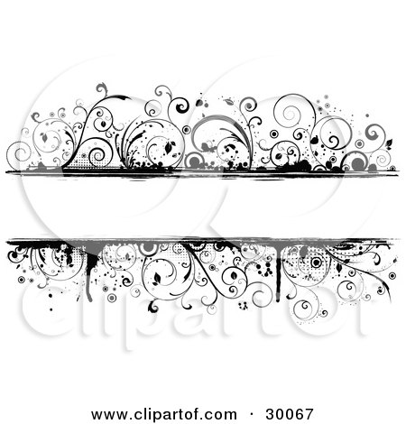 Clipart Illustration of a Black Grunge Vine Border Around A Blank White Text Box by KJ Pargeter