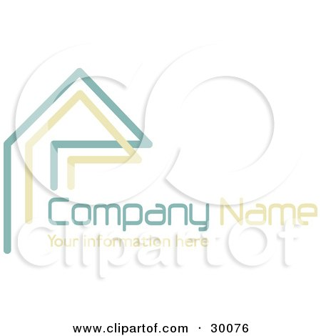 Clipart Illustration of a Stock Logo Of Teal And Beige Lines Resembling A Home Or Roof, Above Space For A Company Name And Information by KJ Pargeter
