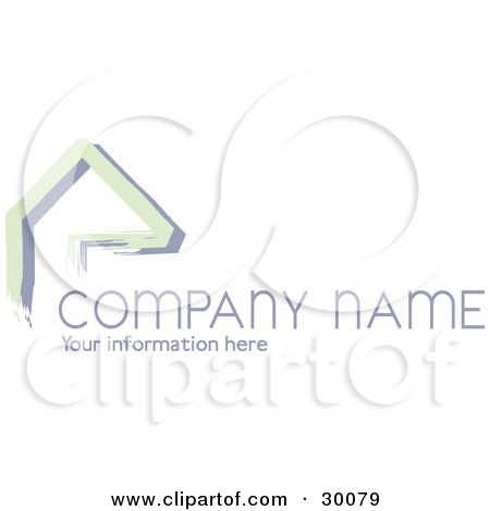 Clipart Illustration of a Stock Logo Of Green Lines Resembling A Home Or Roof, Above Space For A Company Name And Information by KJ Pargeter