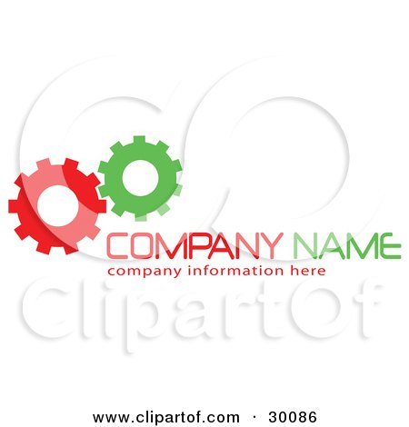 Clipart Illustration of a Stock Logo Of Green And Red Working Cogs To The Left Of Space For A Company Name And Information by KJ Pargeter