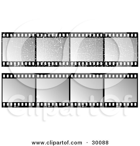Clipart Illustration of Two Sets Of Gray And Black Film Strips, One With Grunge Scratches by KJ Pargeter