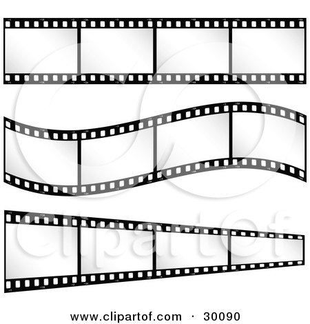 Clipart Illustration of Three Sets Of Film Strips With Blank Frames, One Straight, One Curving, One Leading Off Into The Distance by KJ Pargeter