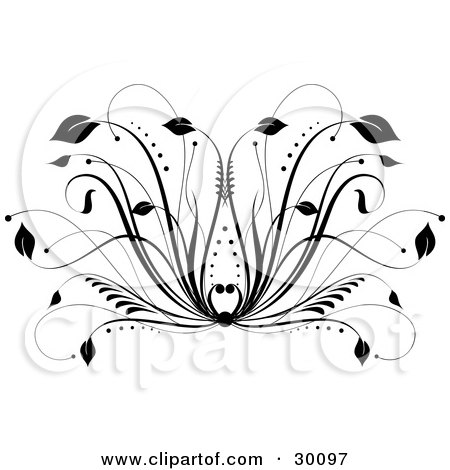 http://images.clipartof.com/small/30097-Clipart-Illustration-Of-A-Black-Floral-Design-Element-With-Leaves-At-The-Tips-Of-Grasses.jpg