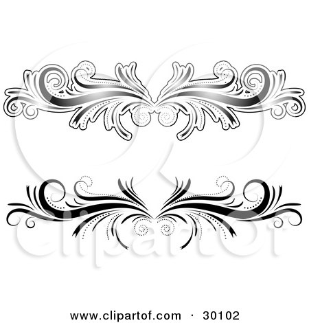 clipart illustration of two black and white flourish designs or lower back tattoos by kj. Black Bedroom Furniture Sets. Home Design Ideas