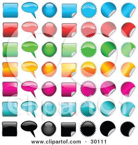 Clipart Illustration of a Set Of 49 Shiny Blue, Red, Green, Yellow, Pink, Light Blue And Black Square, Word Balloon, Oval, Peeling Square, Spiked Circle, And Peeling Circle Icons by KJ Pargeter